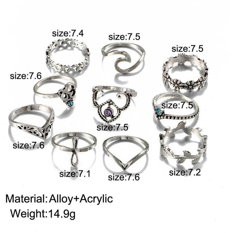 Bohemian Vintage Tibetan Gold Midi Ring 10PCS Set