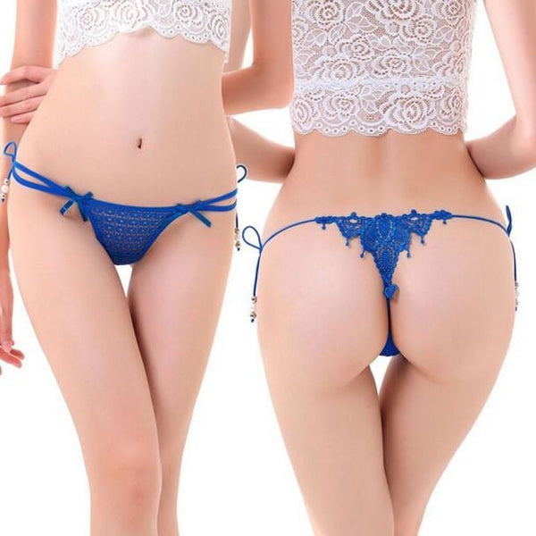 Blue Lace Lingerie Thong