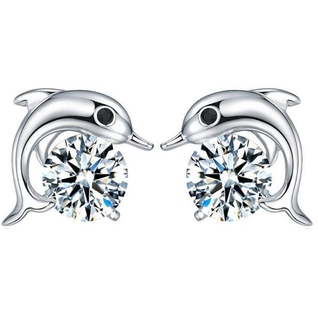 Crystal Dolphin CZ Stud Earrings Sterling Silver