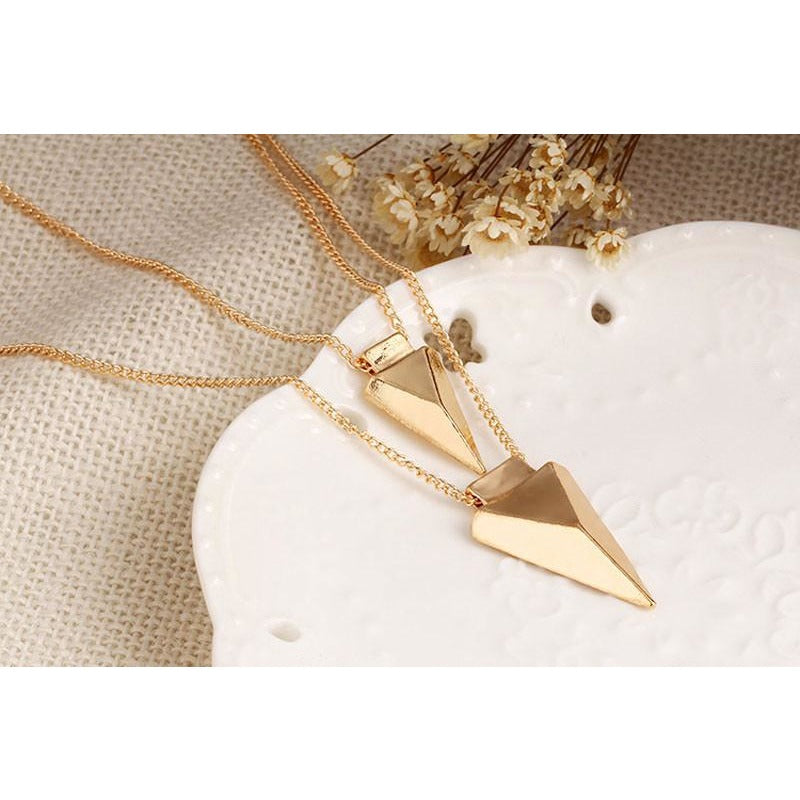 Two Layer Gold Arrow Pendant Necklace