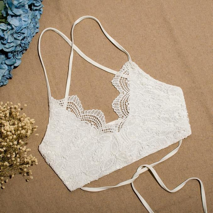 Women's Backless Beach Boho Lace Lingerie Bra Top