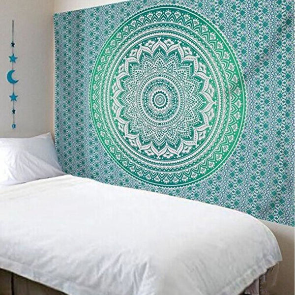 Turquoise Indian Mandala Tapestry