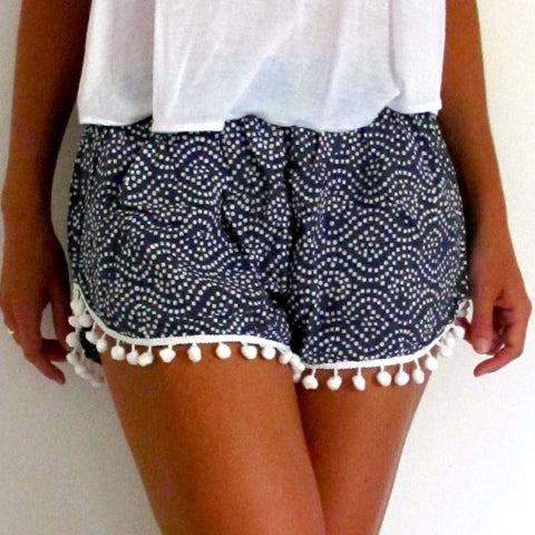 Women Polka Dot High Waist Tassel Shorts