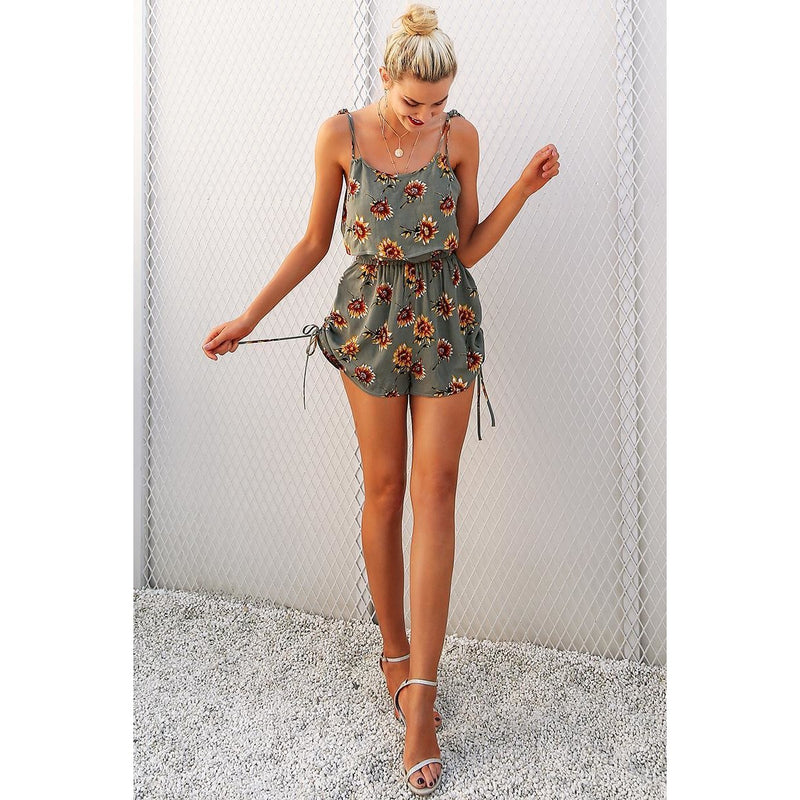 Floral Print Two Piece High Waist Romper