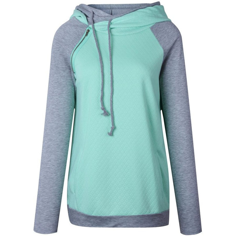 Women's Funnel Neck Zipper Casual Hoodie Pullover