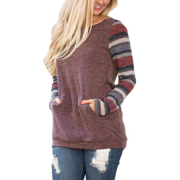 Burgandy O-Neck Long Sleeve Sweatshirt Pullover