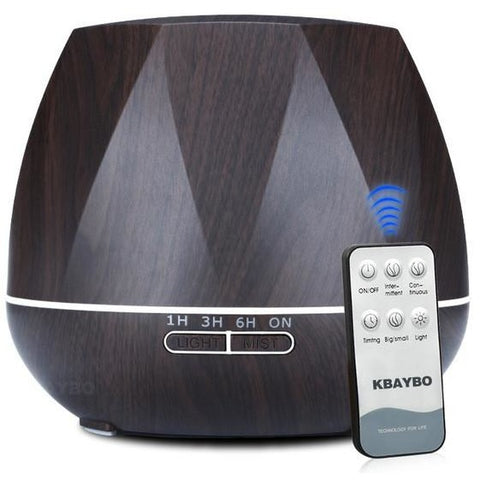 Essential Oil Diffuser - 550ml, Auto Shut-Off, 7 Color LED, Wood Grain