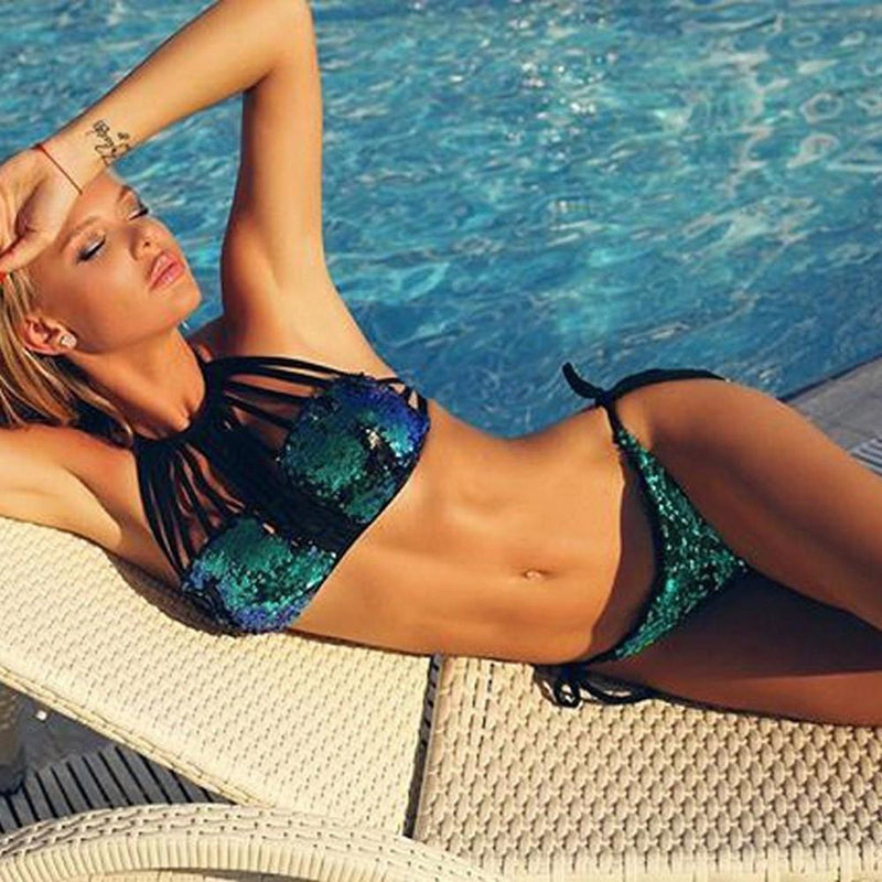 Green Hollow Out Halter Sequin Bikini