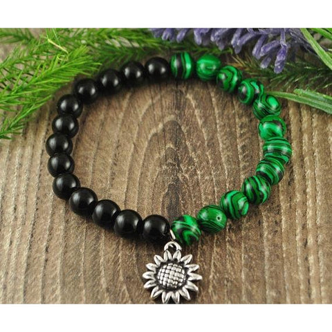 Malachite and Black Onyx Sunflower Charm Crystal Bracelet