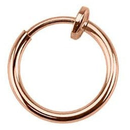 Spring Action Clip On Hoop Rose Gold