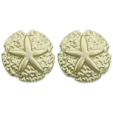 Gold Sand Dollar Earring Studs