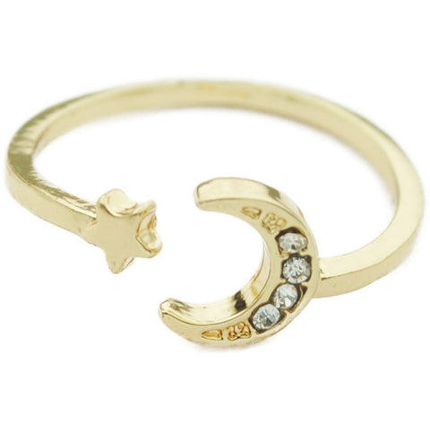 Gold Adjustable Moon with Star Ring