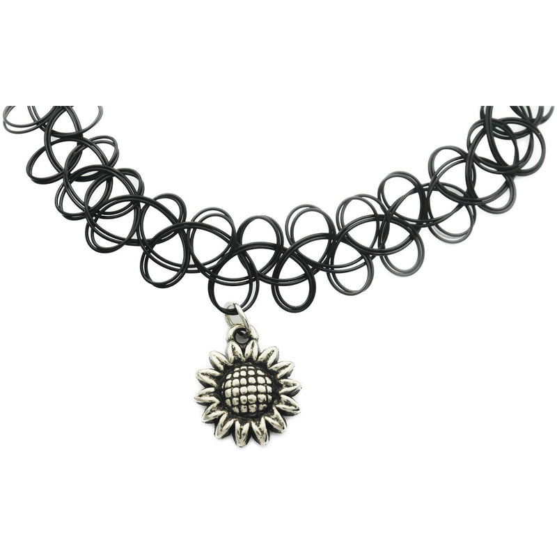 Sun Flower Charm Tattoo Choker