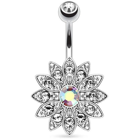Aurora Borealis Gem Flower Belly Ring