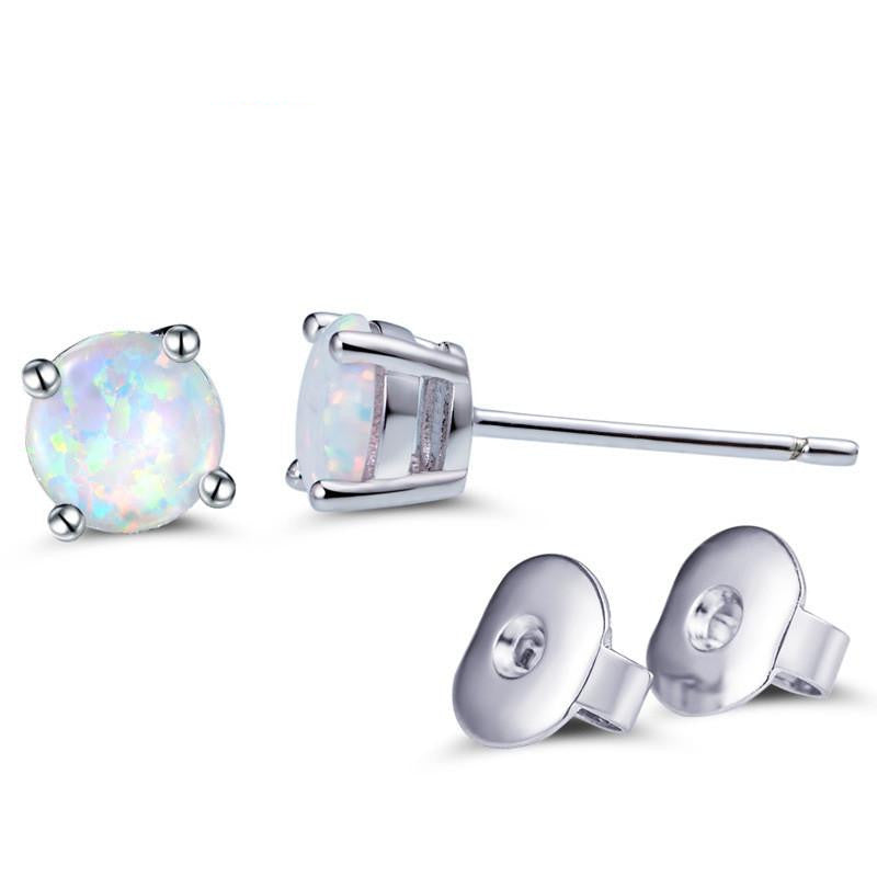 White Fire Opal Earring Studs
