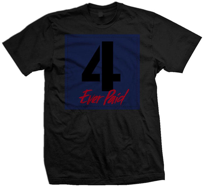 4 Ever Paid - Loyal Blue/Habanero Red on Black T-Shirt