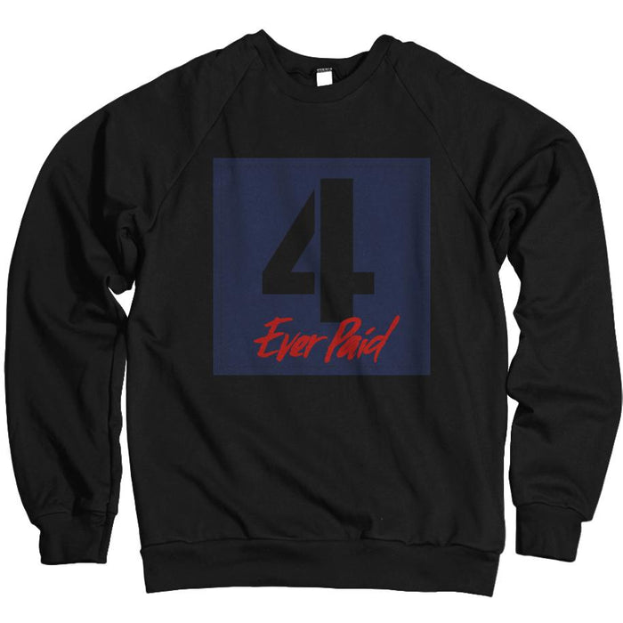 4 Ever Paid - Loyal Blue/ Habanero Red on Black Crewneck Sweatshirt