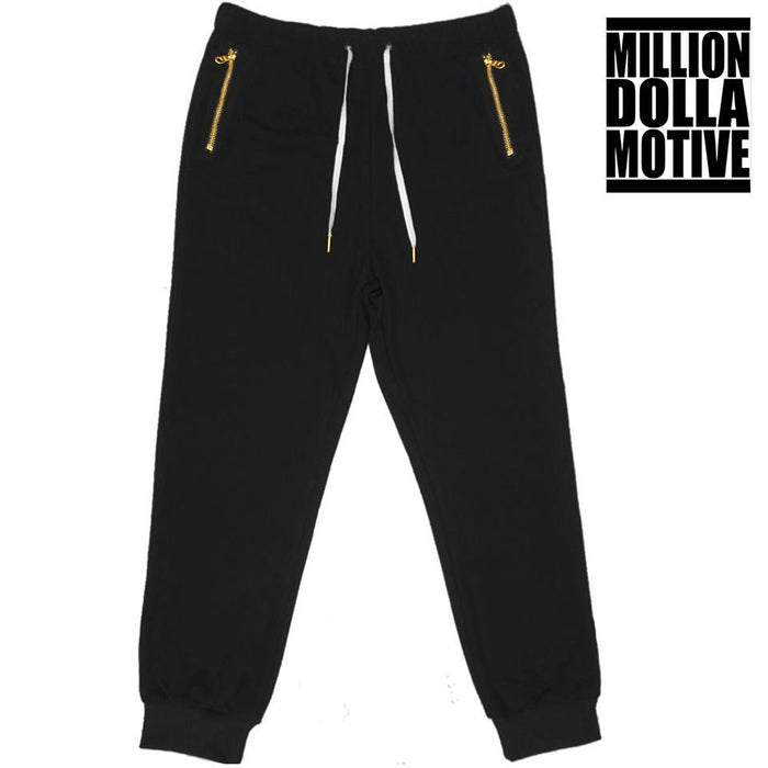Black Joggers with Gold Zipper Pockets - Million Dolla Motive