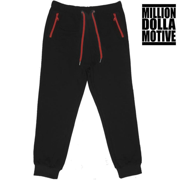 Black Joggers with Red Zipper Pockets - Million Dolla Motive