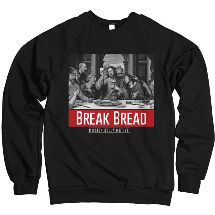 Break Bread - Red on Black Crewneck Sweatshirt