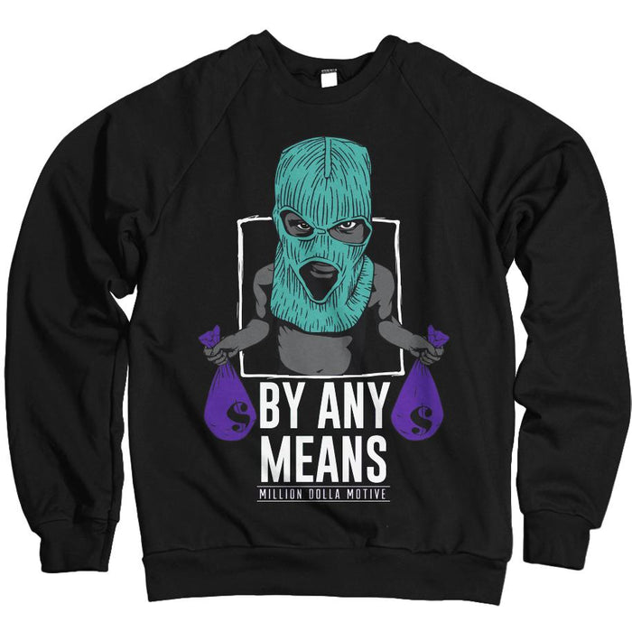 By Any Means - Purple/New Emerald on Black Crewneck Sweatshirt