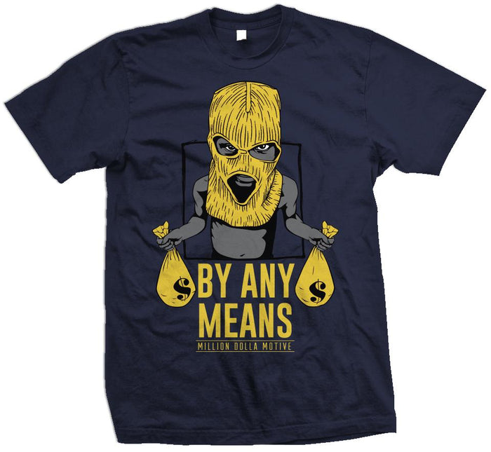 By Any Means - Amarillo Yellow on Navy T-Shirt