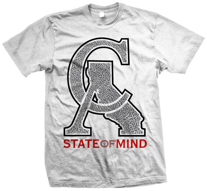 CA Elephant Print Red/ Grey on White Tee - Million Dolla Motive