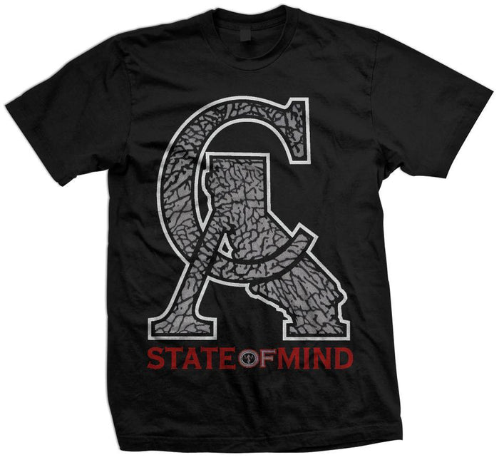 CA Elephant Print - Red/Grey/White on Black Tee - Million Dolla Motive