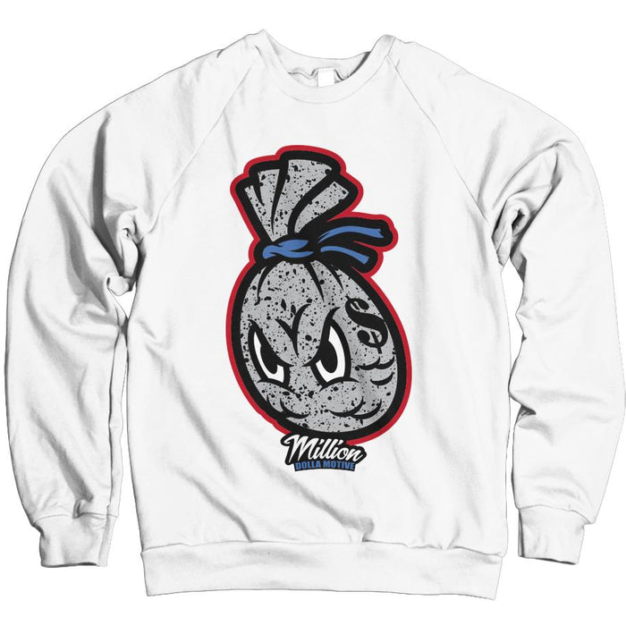 Cement Money Bag (What The) - Military Blue/Red on White Crewneck Sweatshirt