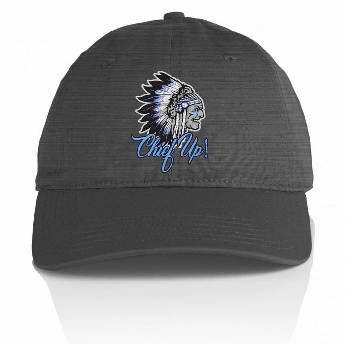 Chief Up - Blue on Dark Grey Dad Hat