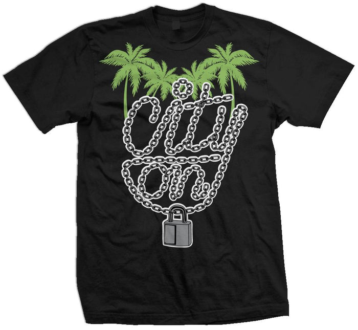 City On Lock - Chlorophyll Green on Black T-Shirt - Million Dolla Motive