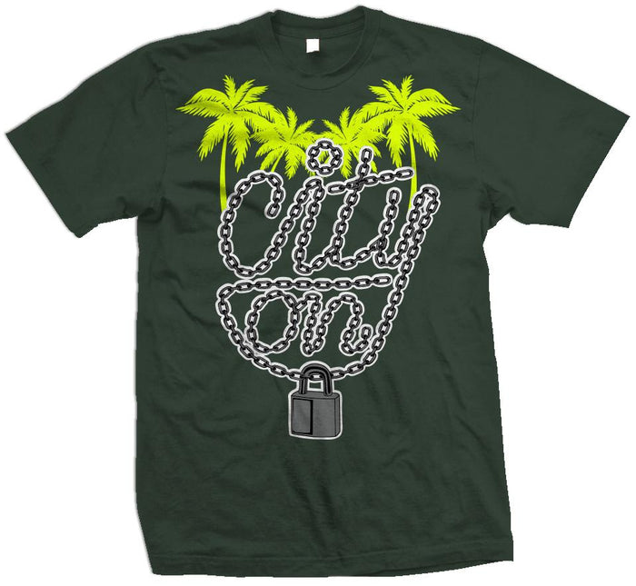 City On Lock - Volt on Dark Emerald Green T-Shirt