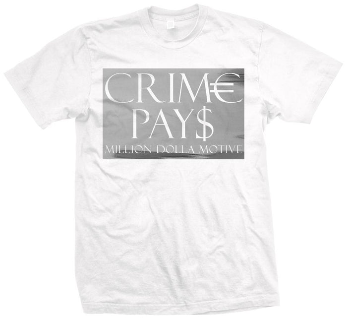Crime Pays - Silver on White T-Shirt