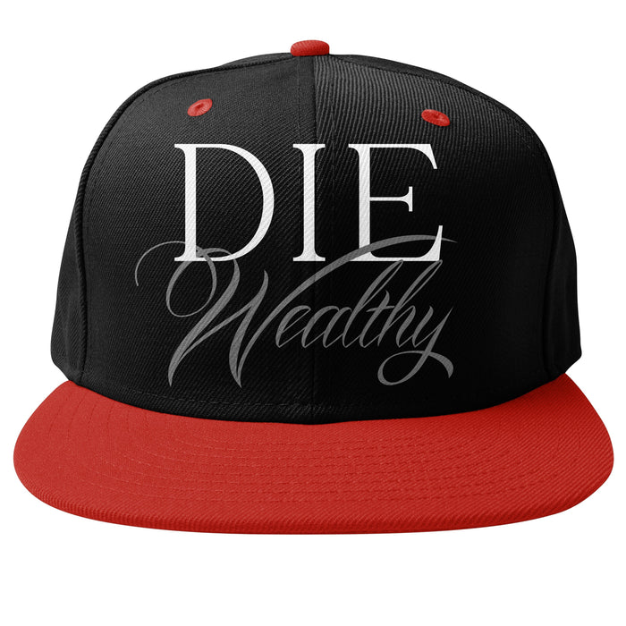 Die Wealthy Black/Red Snapback Cap - Million Dolla Motive