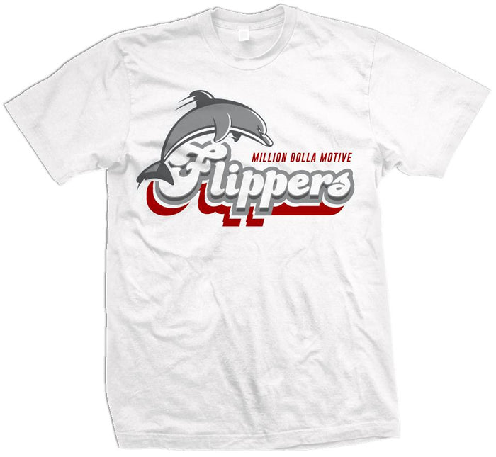 Flippers - Red on White T-Shirt