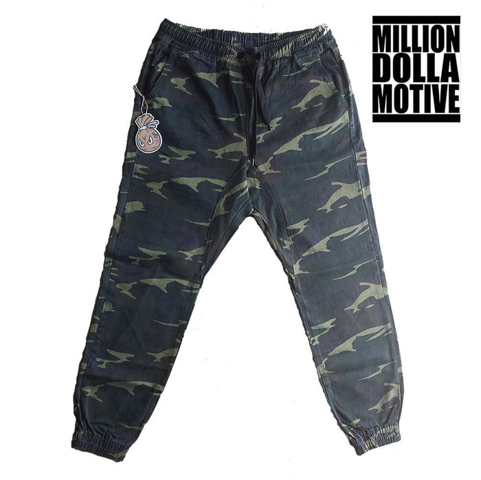 Green Camo Twill Joggers - Million Dolla Motive