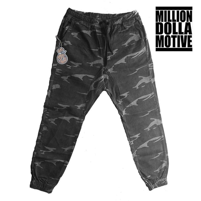 Grey Camo Twill Joggers - Million Dolla Motive