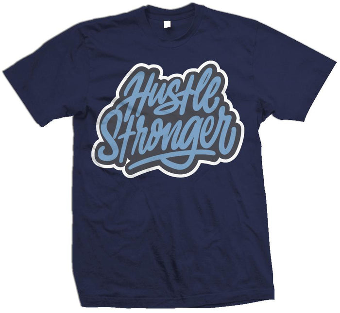 Hustle Stronger Flint - University Blue on Navy T-Shirt