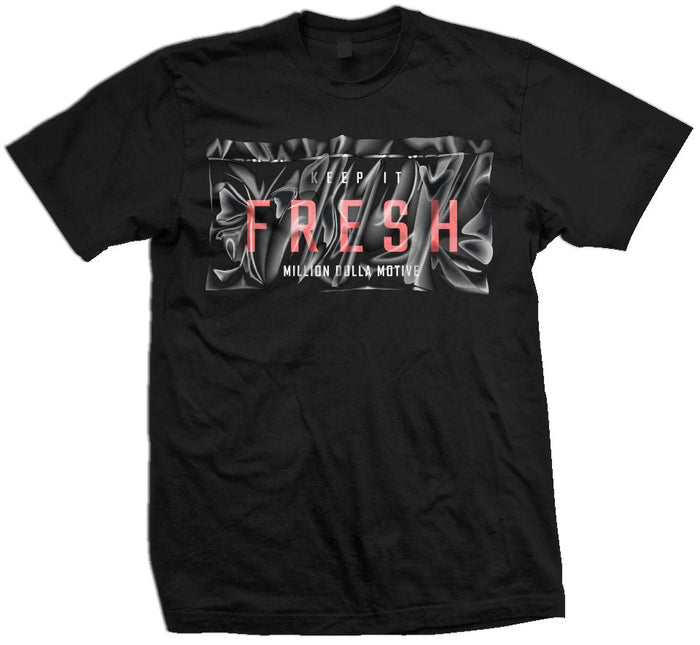 Keep It Fresh Bag - Infrared on Black T-Shirt