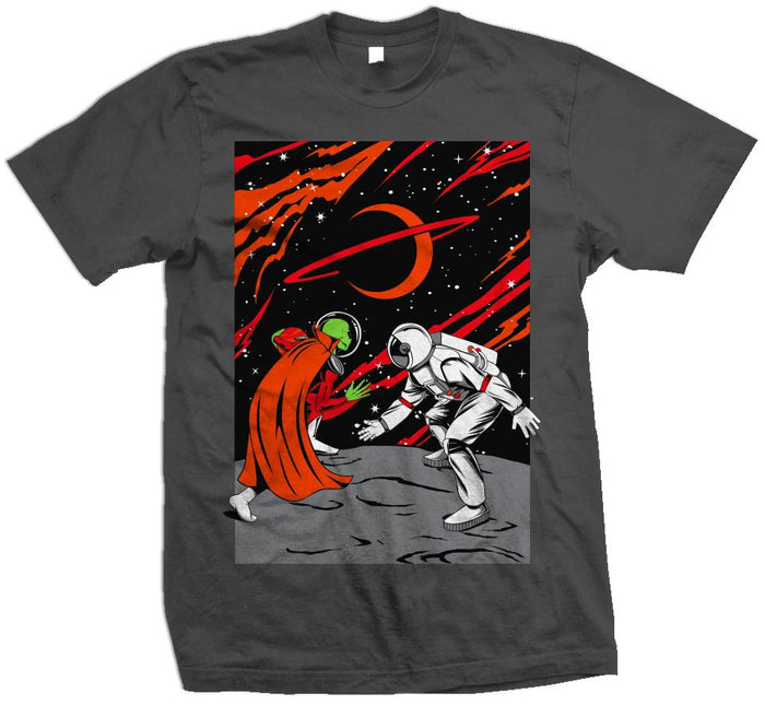 Mars vs Earth - Orange / Red on Dark Grey T-Shirt