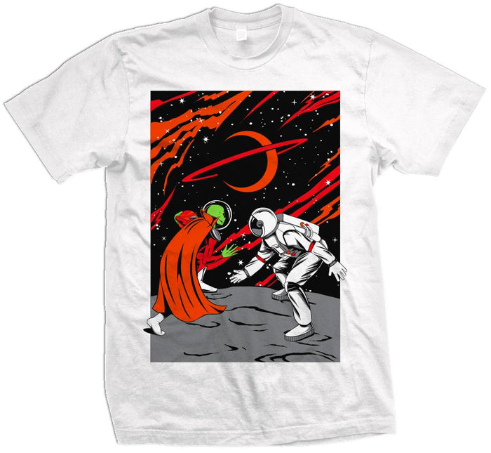 Mars vs Earth - Orange / Red on White T-Shirt