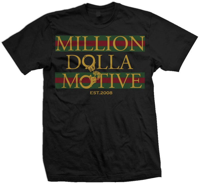 Money and Cuffs - Gold on Black T-Shirt - Million Dolla Motive