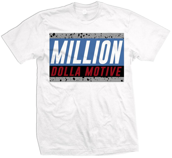 Cement Million (What The) - Military Blue/Red on White T-Shirt