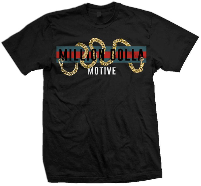 Million Dolla Motive Chains - Gold on Black T-Shirt