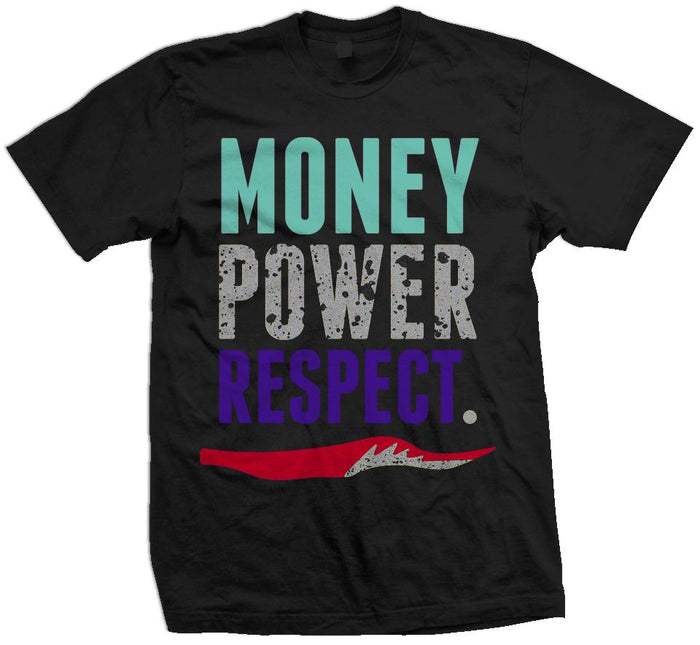 Money Power Respect Top 3- Purple/New Emerald/Red/Silver on Black T-Shirt