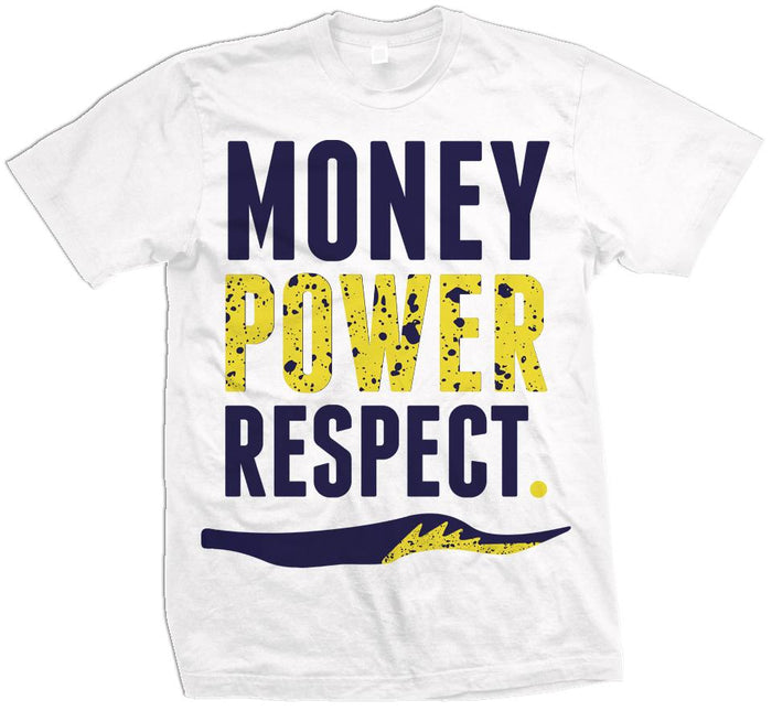 Money Power Respect - Navy/Amarillo Yellow on White T-Shirt