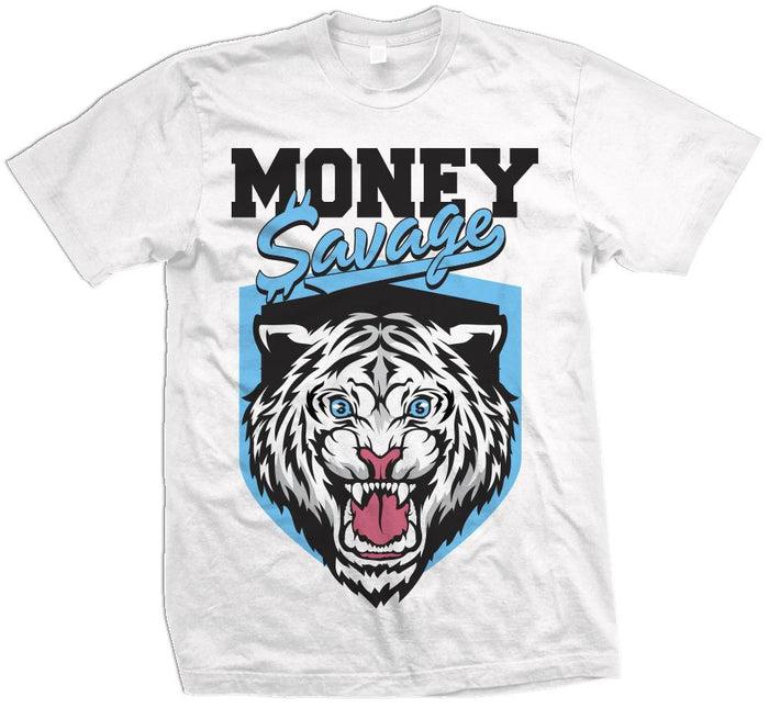 Money Savage - Blue Force on White T-Shirt