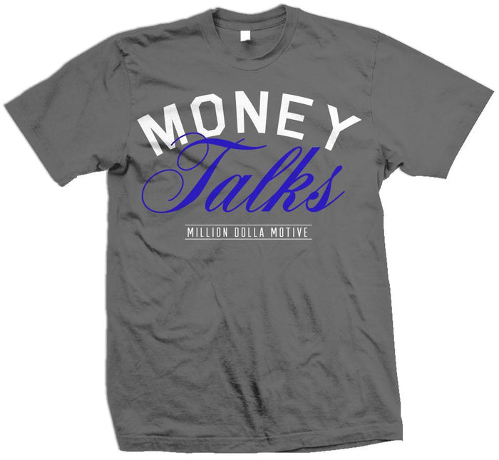 Money Talks - Royal Blue on Dark Grey T-Shirt