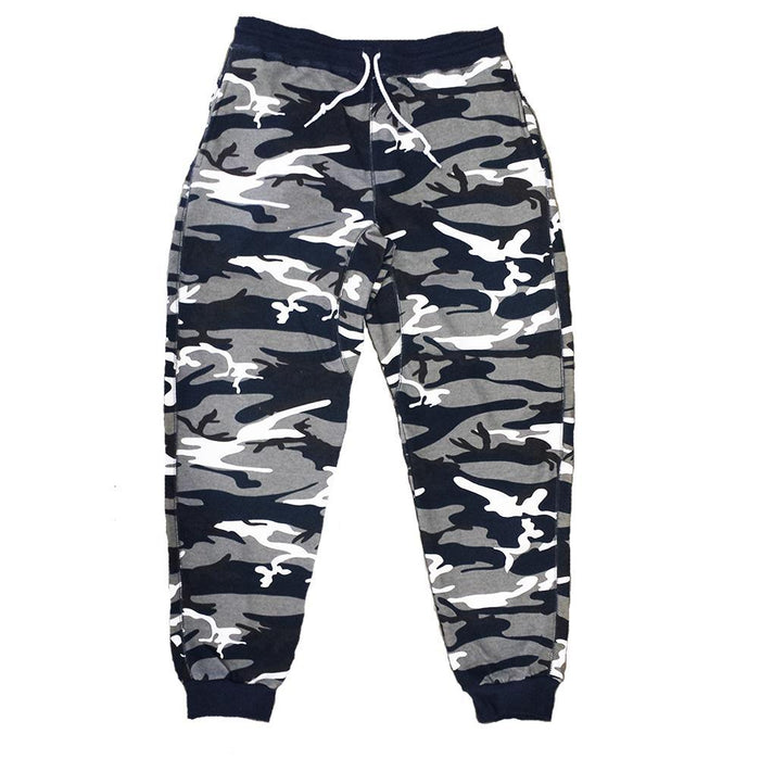 Navy Blue Camo Terry Joggers - Million Dolla Motive