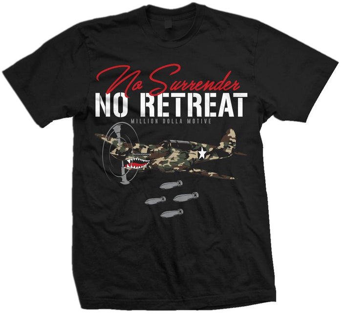 No Surrender No Retreat -Green Camo on Black T-Shirt